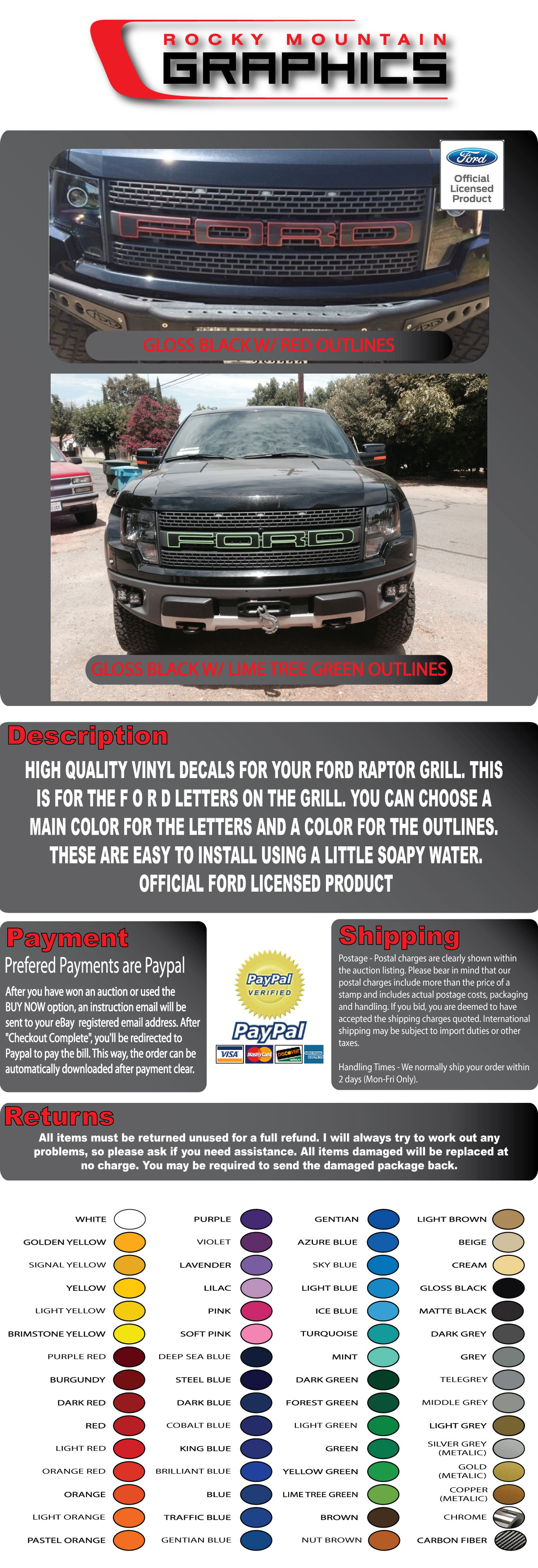 FORD RAPTOR F-150 GRILL LETTER W// OUTLINES STICKERS DECALS FORD LICENSED 10-14