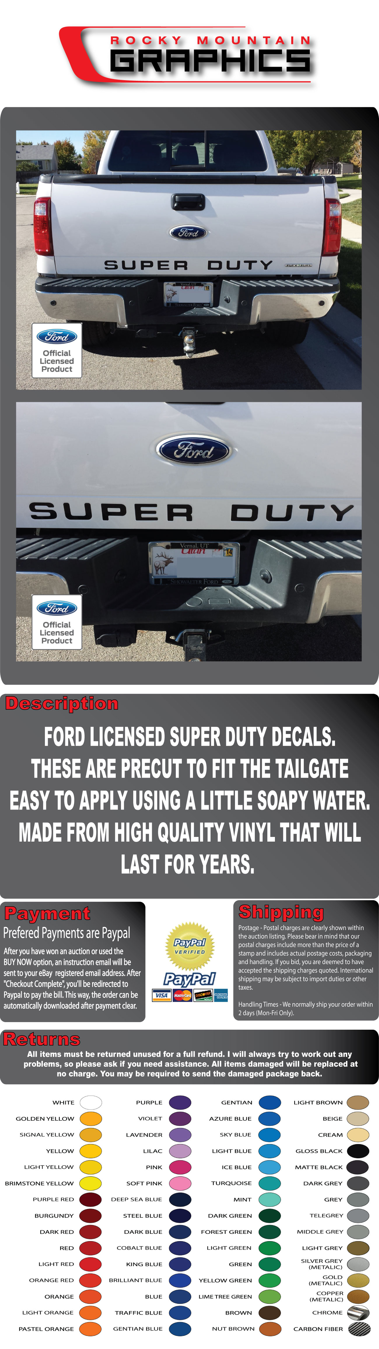 F350 Black Chrome Raised Letter Inserts RECON Ford 2008-15 FORD SUPERDUTY F250